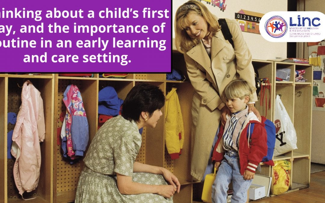 Thinking about a child's first day, and the importance of routine in an early learning and care setting.