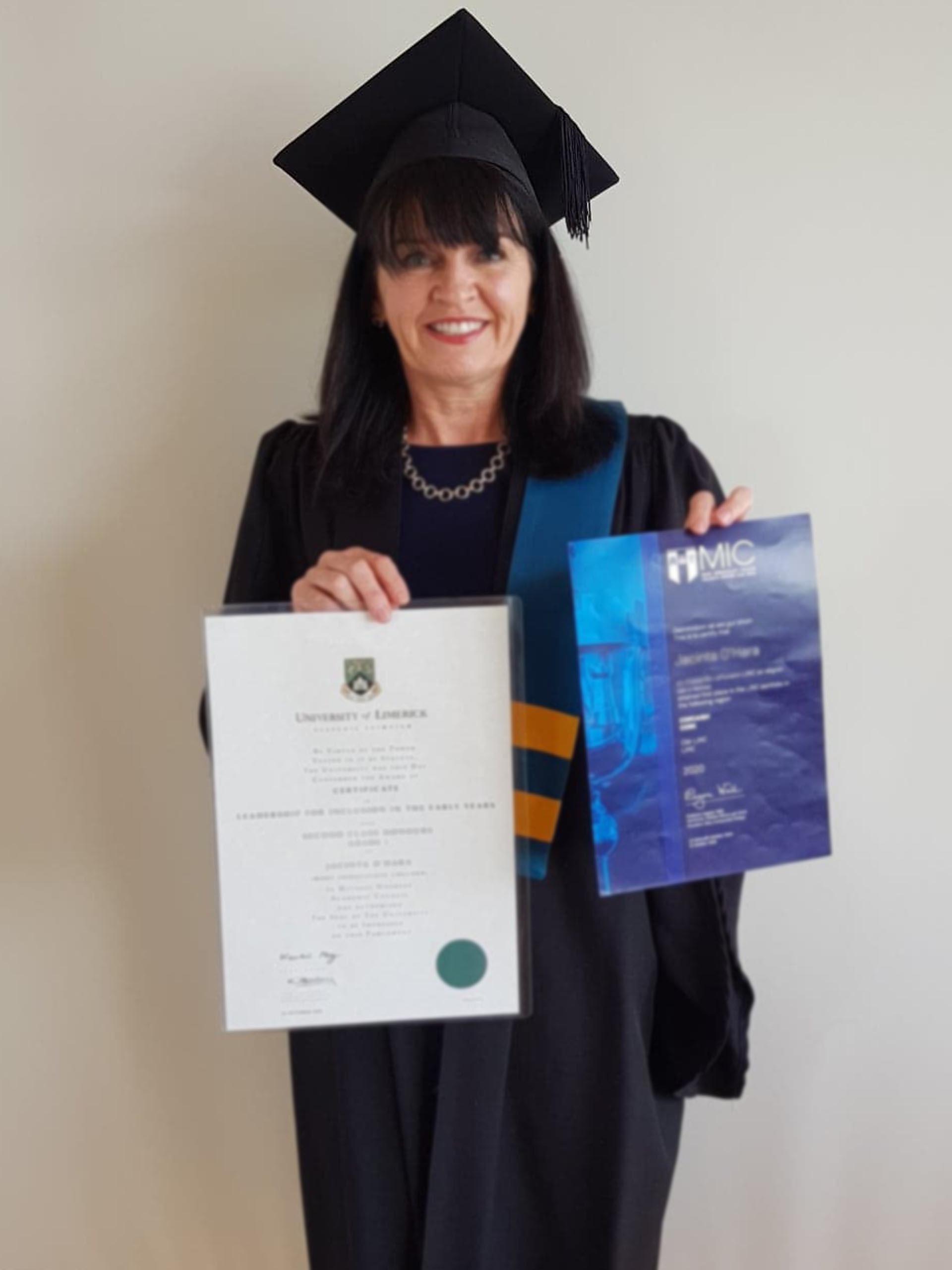Jacinta O'Hara Ballyheigue, Co. Kerry who won the Early Childhood Ireland Best LINC Portfolio Award